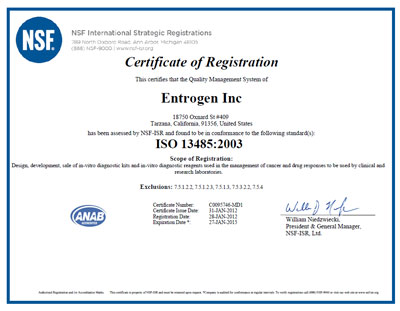 EntroGen receives ISO 13485 certification | EntroGen, Inc.